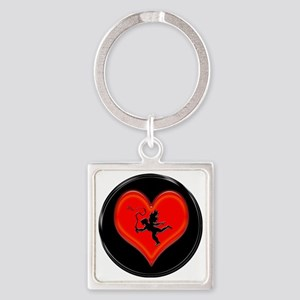 cupid black heart and whip Square Keychain
