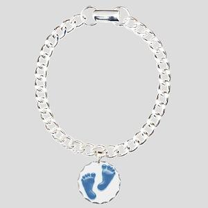 Baby Feet in Blue Charm Bracelet, One Charm