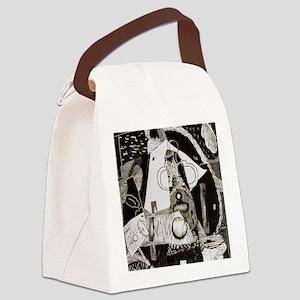 penguinlinocut Canvas Lunch Bag