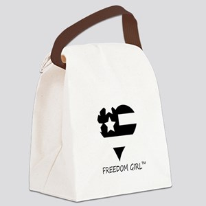 Freedom_Girl_basic_logoblk Canvas Lunch Bag