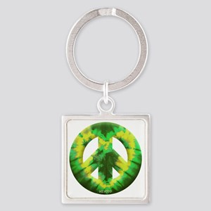 Green Yellow Tie Dye Square Keychain