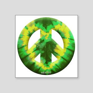 """Green Yellow Tie Dye Square Sticker 3"""" x 3"""""""
