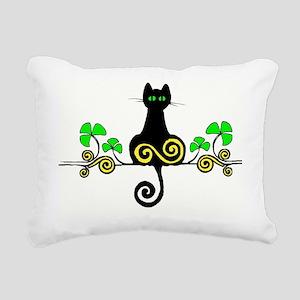 irish kitty shamrock mag Rectangular Canvas Pillow