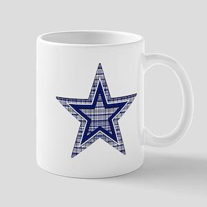 Blue and Silver Plaid Mugs