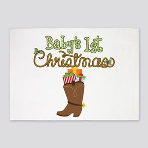 1st Christmas Cowboy Boot 5'x7'Area Rug
