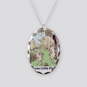 Three-Little-Pigs Necklace Oval Charm