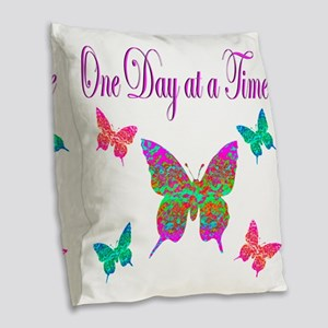 ONE DAY AT A TIME Burlap Throw Pillow