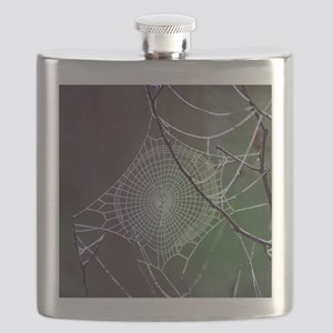 Spider Web In The Morning Dew Flask
