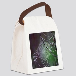 Spider Web In The Morning Dew Canvas Lunch Bag