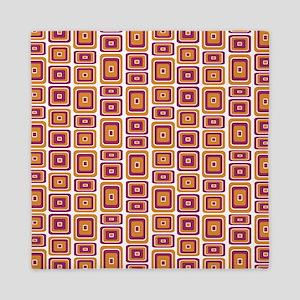 Retro style pattern squares Queen Duvet