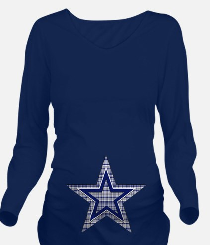 Blue and Silver Plaid Long Sleeve Maternity T-Shir