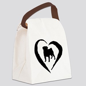 Pug Heart Canvas Lunch Bag