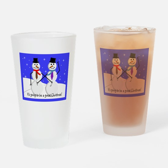 Gay Men Snowmen 2 Drinking Glass
