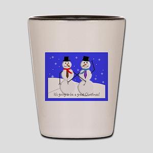 Gay Men Snowmen 2 Shot Glass