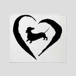 Wiener Heart Throw Blanket