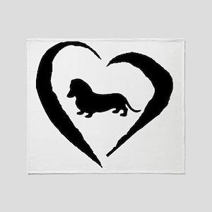 Wiener1 Heart Throw Blanket