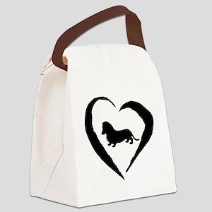 Wiener1 Heart Canvas Lunch Bag