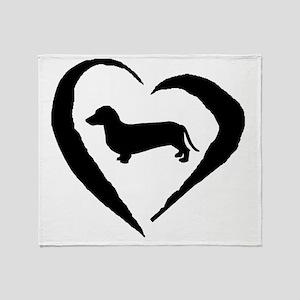 Wiener2 Heart Throw Blanket