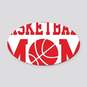 basketball-mom-red Oval Car Magnet