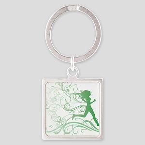 green_runner_girl Square Keychain