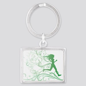green_runner_girl Landscape Keychain
