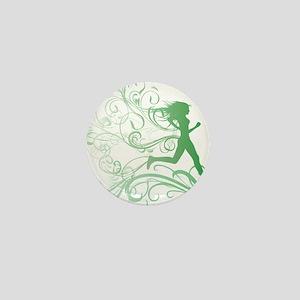 green_runner_girl Mini Button