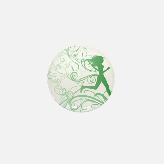green_runner_girl Mini Button
