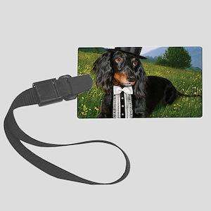 long hair black dox16x16 Large Luggage Tag