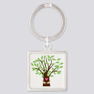 Tree Hugger Square Keychain