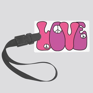Hippie Peace Sign Love Large Luggage Tag