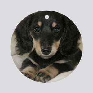 long hair black doxie 16x16 Round Ornament
