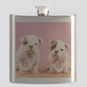 puppy valentines16x16 Flask