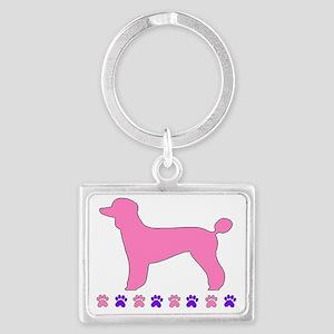 Poodle Paws Pink Landscape Keychain