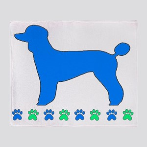Poodle Paws Blue Throw Blanket