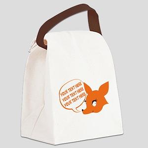 CUSTOM TEXT Cute Fox Canvas Lunch Bag