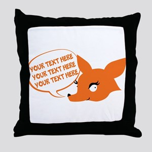 CUSTOM TEXT Cute Fox Throw Pillow