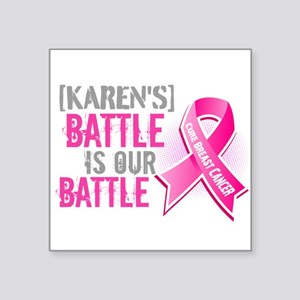 "Personalized Breast Cancer Square Sticker 3"" x 3"""