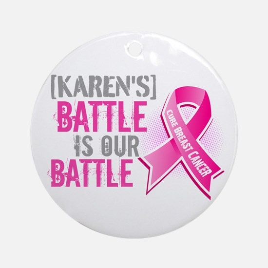 Personalized Breast Cancer Ornament (Round)
