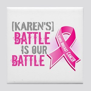 Personalized Breast Cancer Tile Coaster
