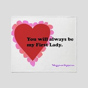 ART text first lady horizontal card Throw Blanket