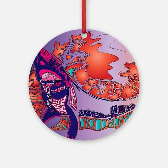 Shark Great Purple Round Ornament
