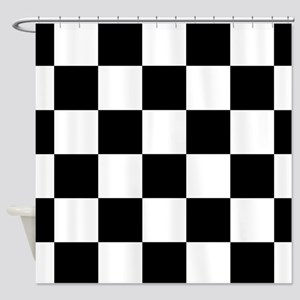 Black And White Checker Board Shower Curtain