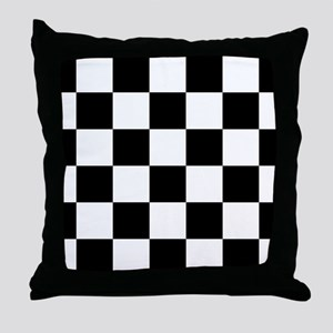 Black And White Checker Board Throw Pillow