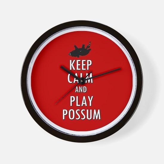 Keep Calm and Play Possum Wall Clock