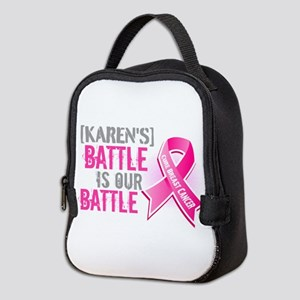 Personalized Breast Cancer Neoprene Lunch Bag