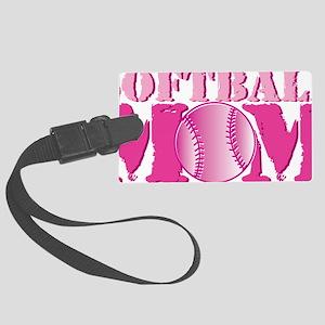 softball_mom_pink Large Luggage Tag