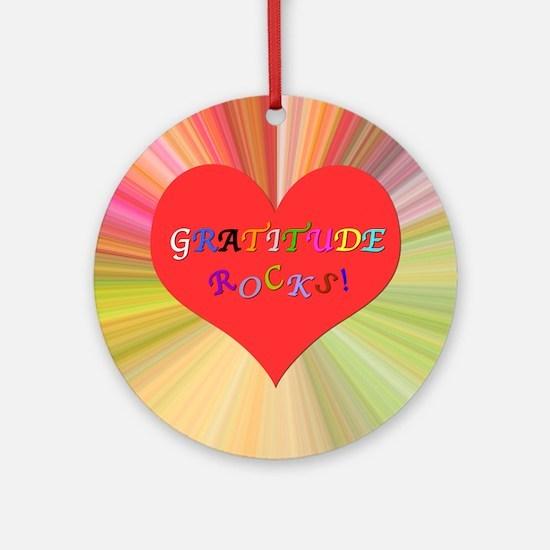 Gratitude Rocks 3 Round Ornament