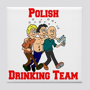 Polish Drinking Team Cartoon Shirt Tile Coaster