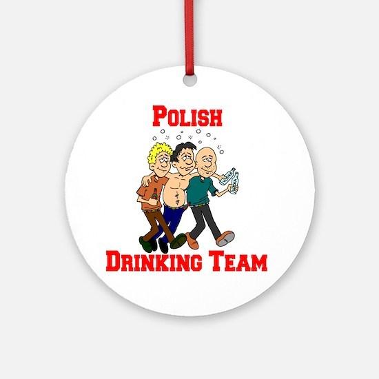 Polish Drinking Team Cartoon Shirt Round Ornament