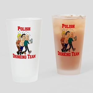 Polish Drinking Team Cartoon Shirt Drinking Glass